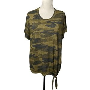Lucky Brand Camo Front Tie Tee Size 1X
